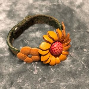 Leather sunflower handcrafted bracelet